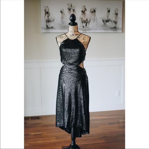 Halston Heritage Dresses & Skirts - Halston Heritage Black Sleeveless Metallic Dress